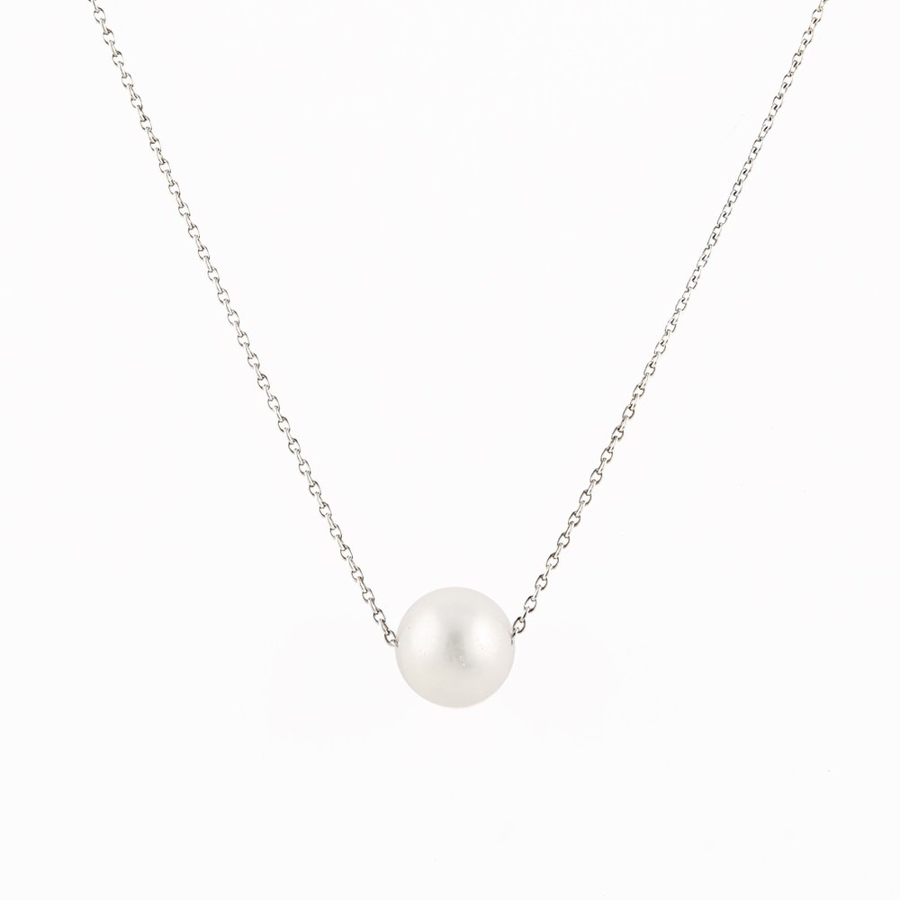10mm Pearl pendant with chain (17 inches) - sterling silver 0.925