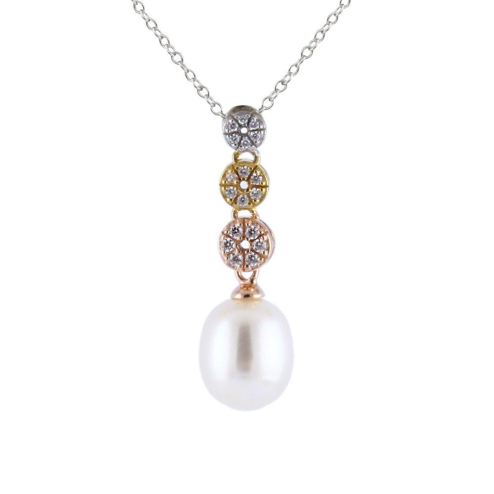 Pendentif perles avec chaîne (17 pouces) - 3 tons Argent sterling 0.925 avec zircone cubique