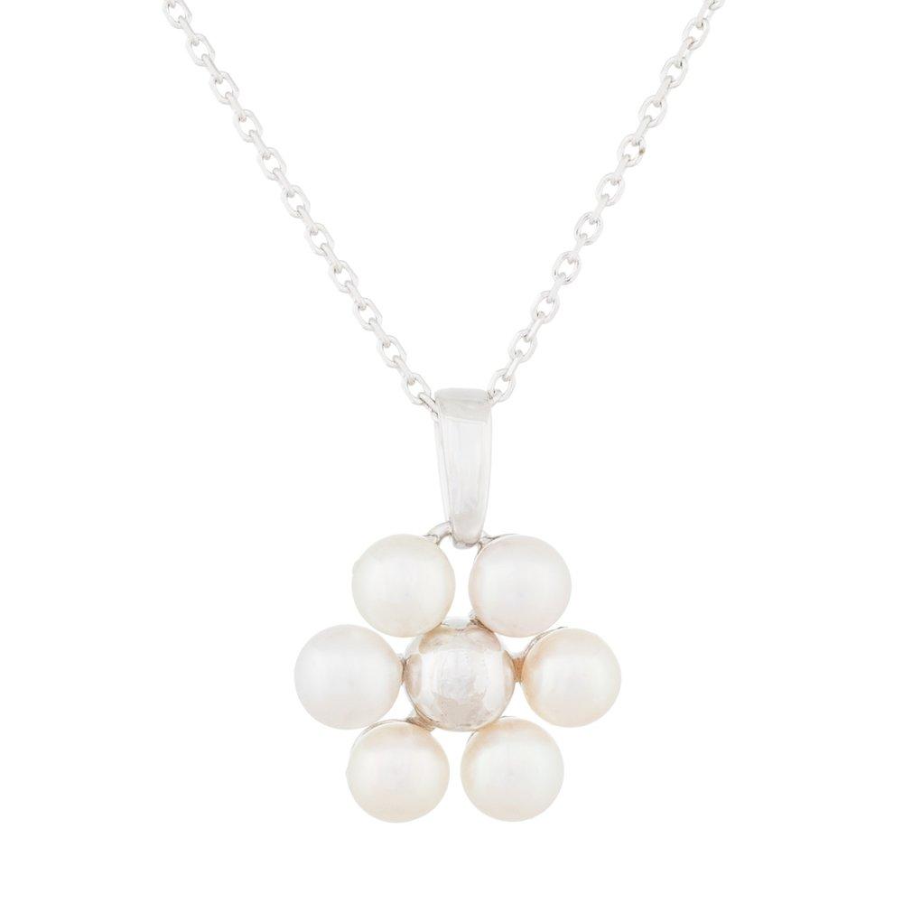Pendentif Fleur en perles et collier (17 pouces) en argent sterling 0.925