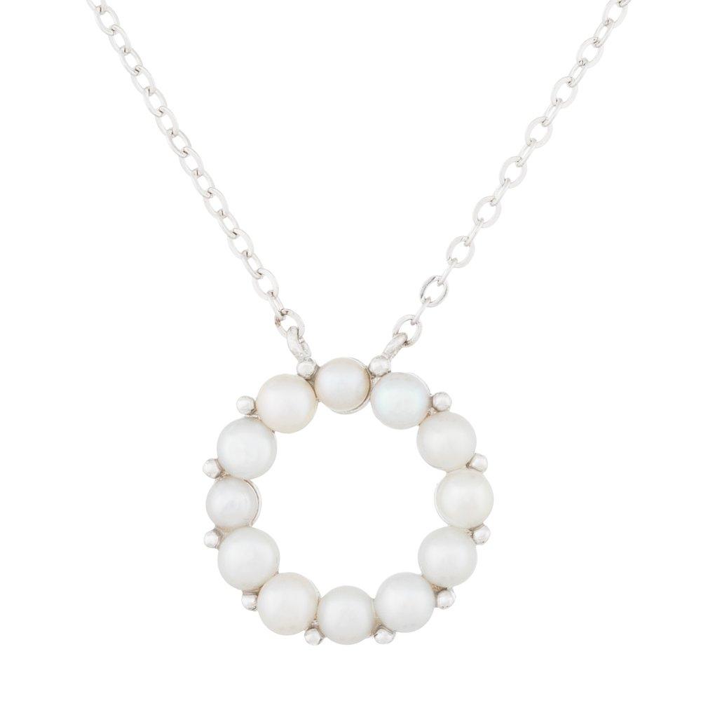 Pendentif  en perles et collier (17 pouces) en argent sterling 0.925