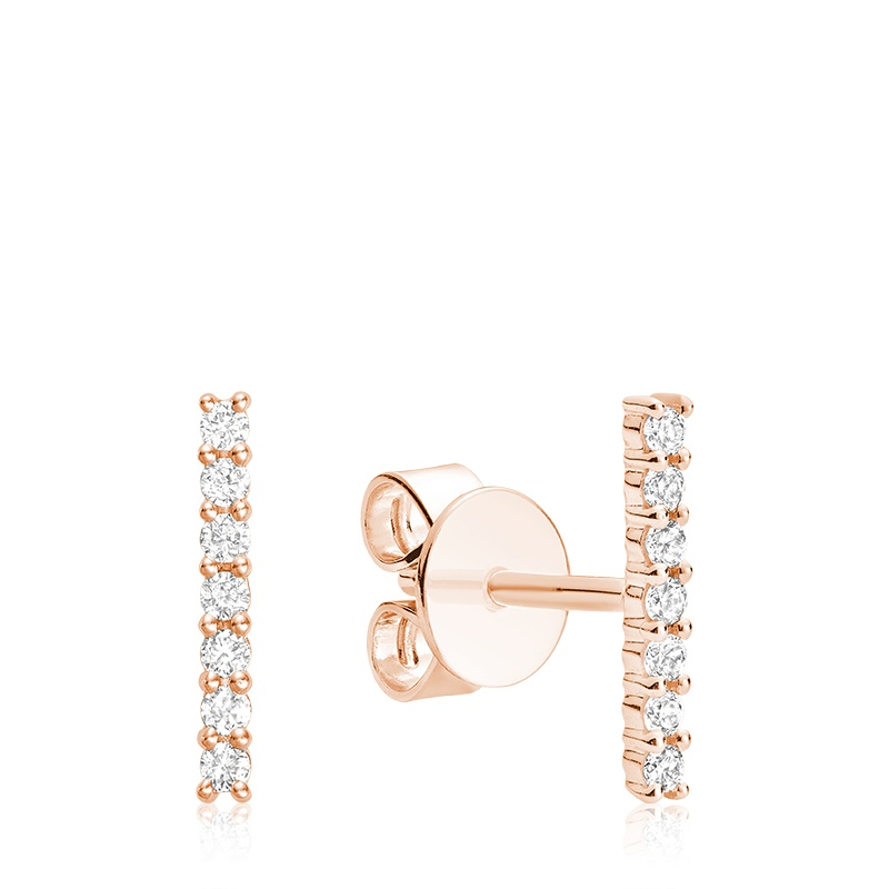 Boucles d'oreilles à tiges fixes pour femme - Or rose 10K & Diamants totalisant 11pts.