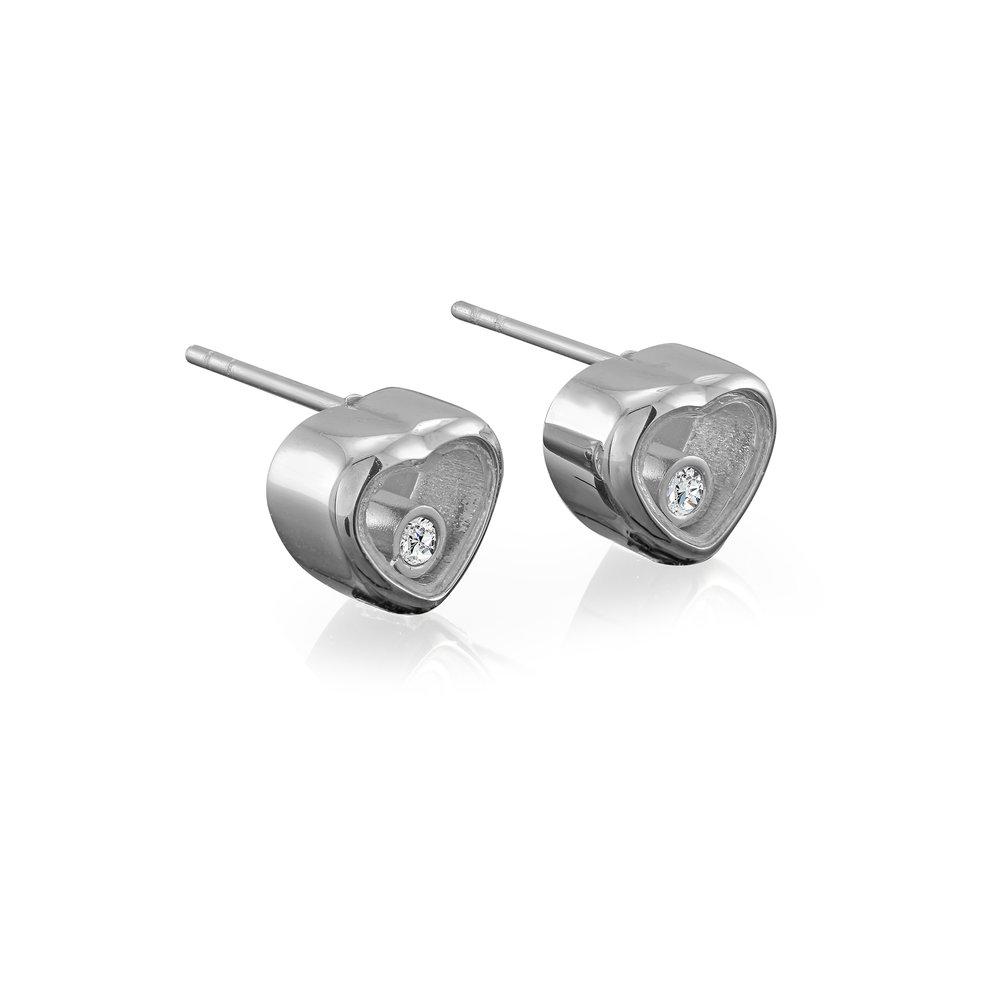 Heart-shaped stainless steel earrings & cubic zirconia