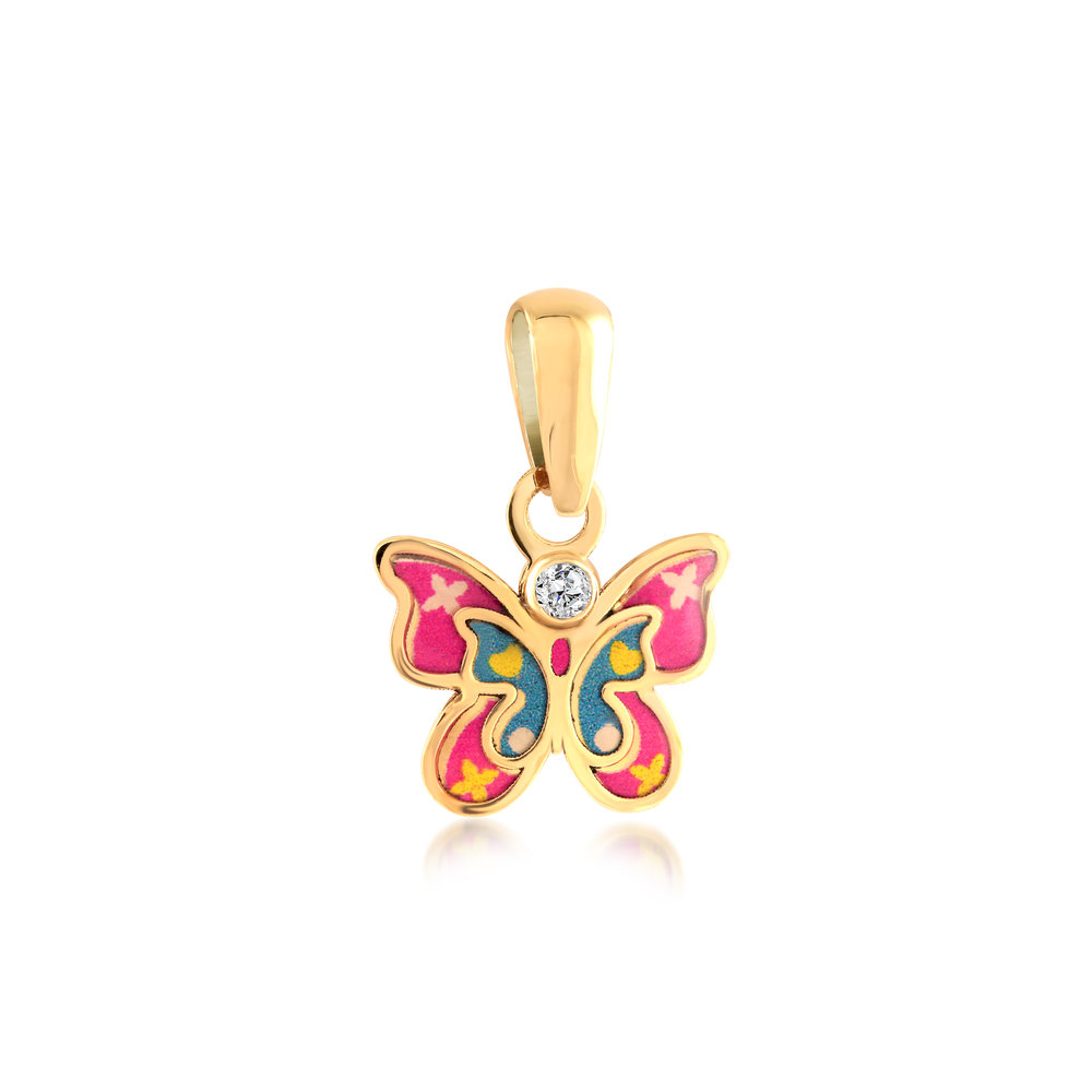 Butterfly pendant for child - 10K yellow gold & cubic zirconia
