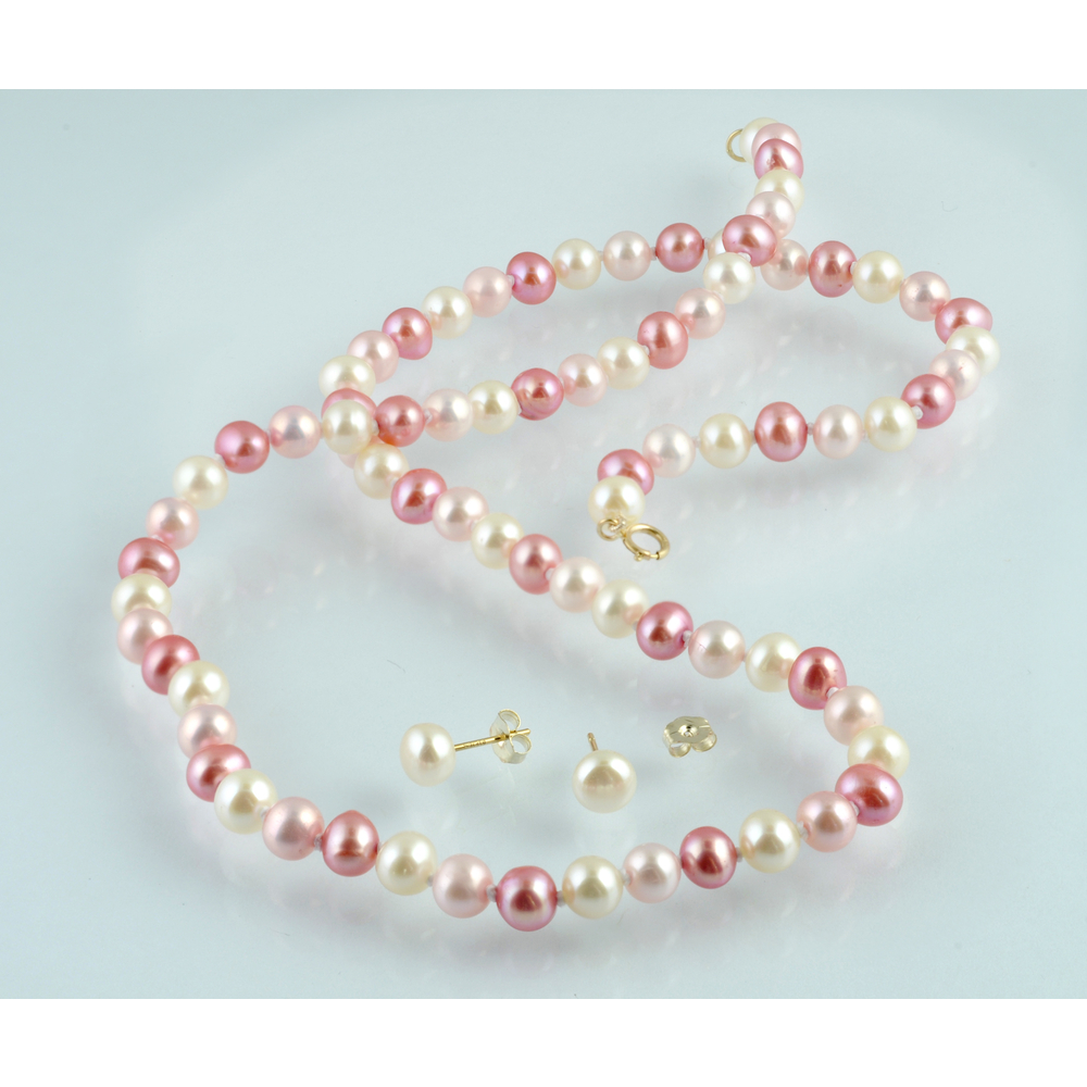 Pink soft water pearls necklace and earrings with 10K  Gold spring ring