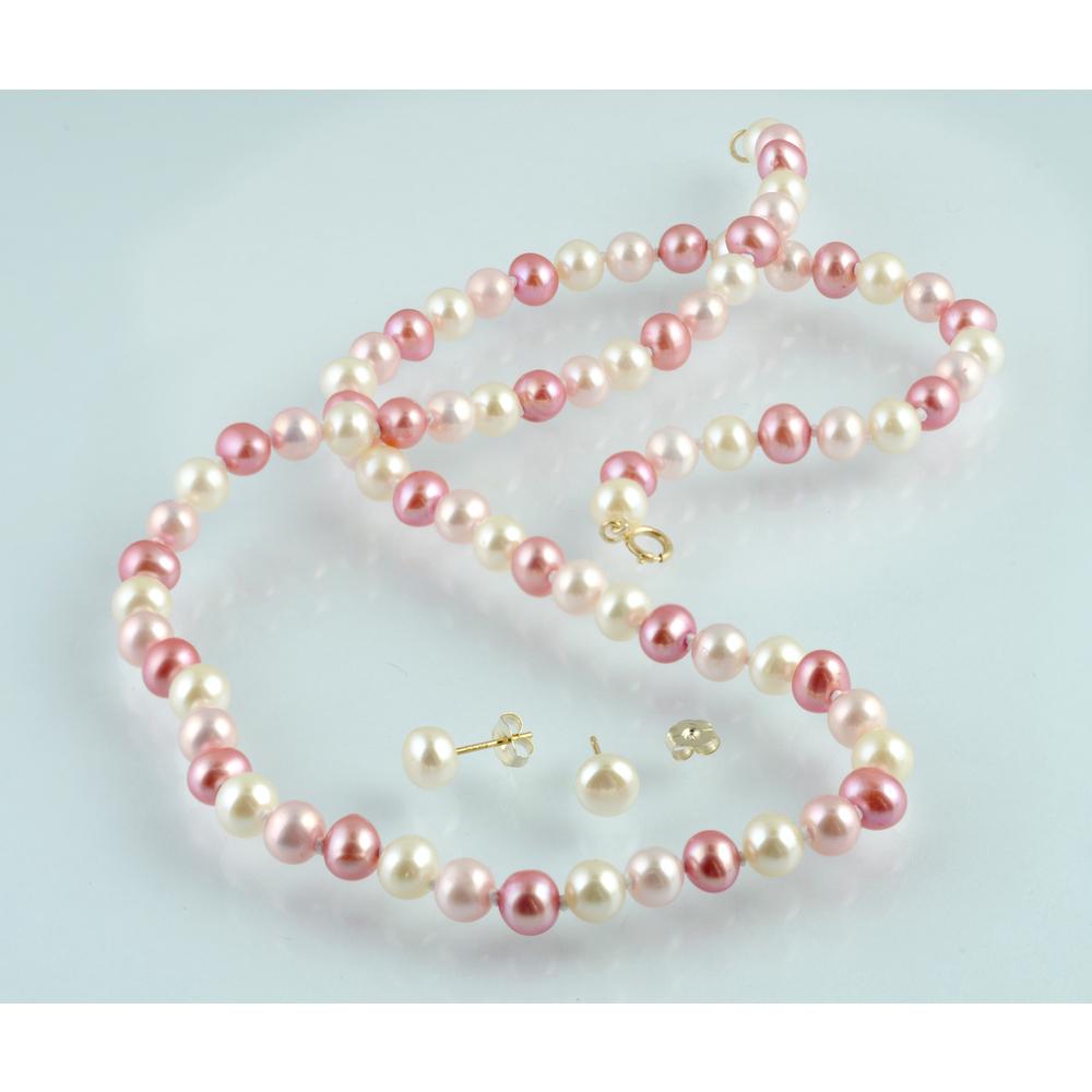 Collier et boucles d'oreilles Perles d'Eau Douce roses Fermoir à ressort Or jaune 10K