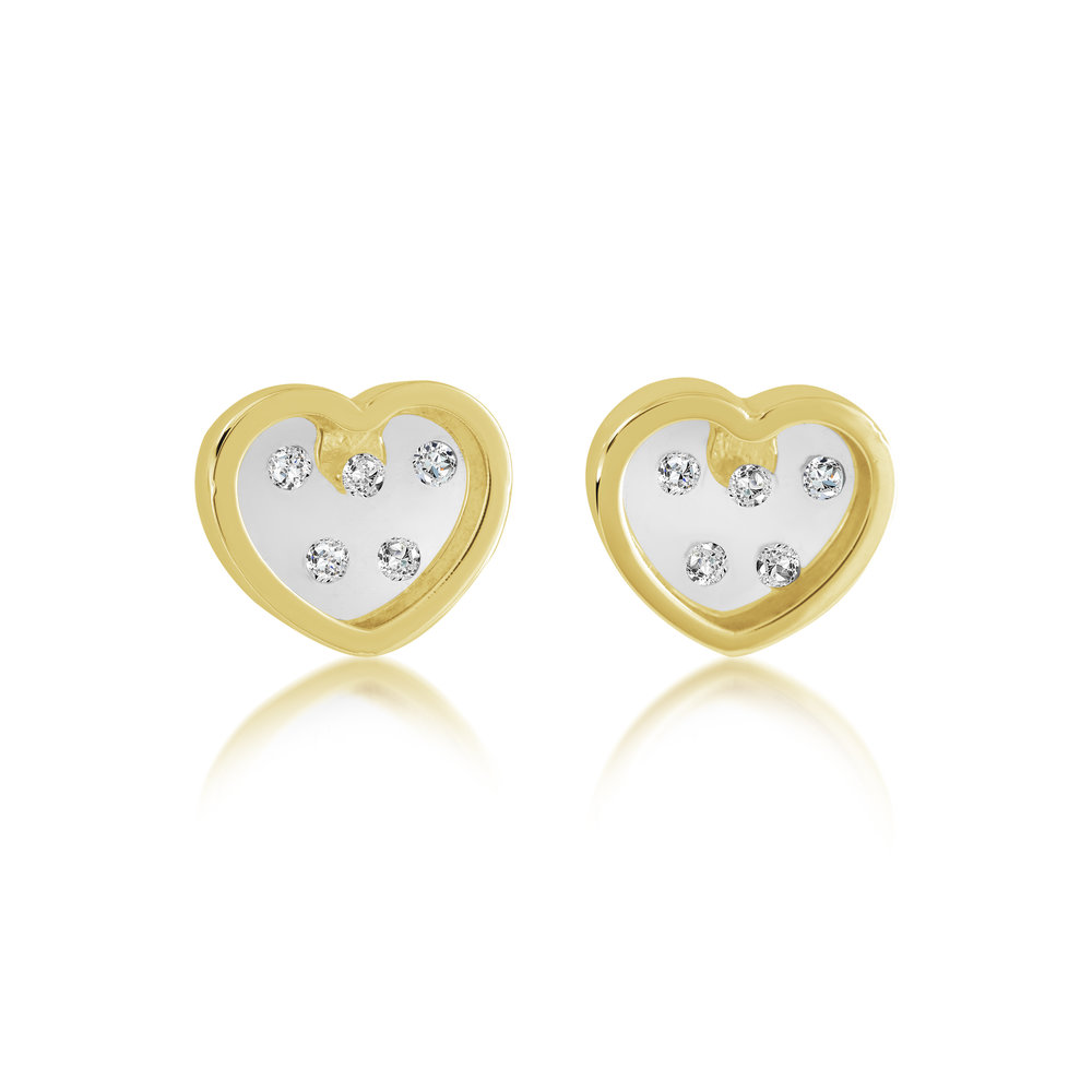 Heart stud earrings for children - 10K yellow Gold & cubic zirconia