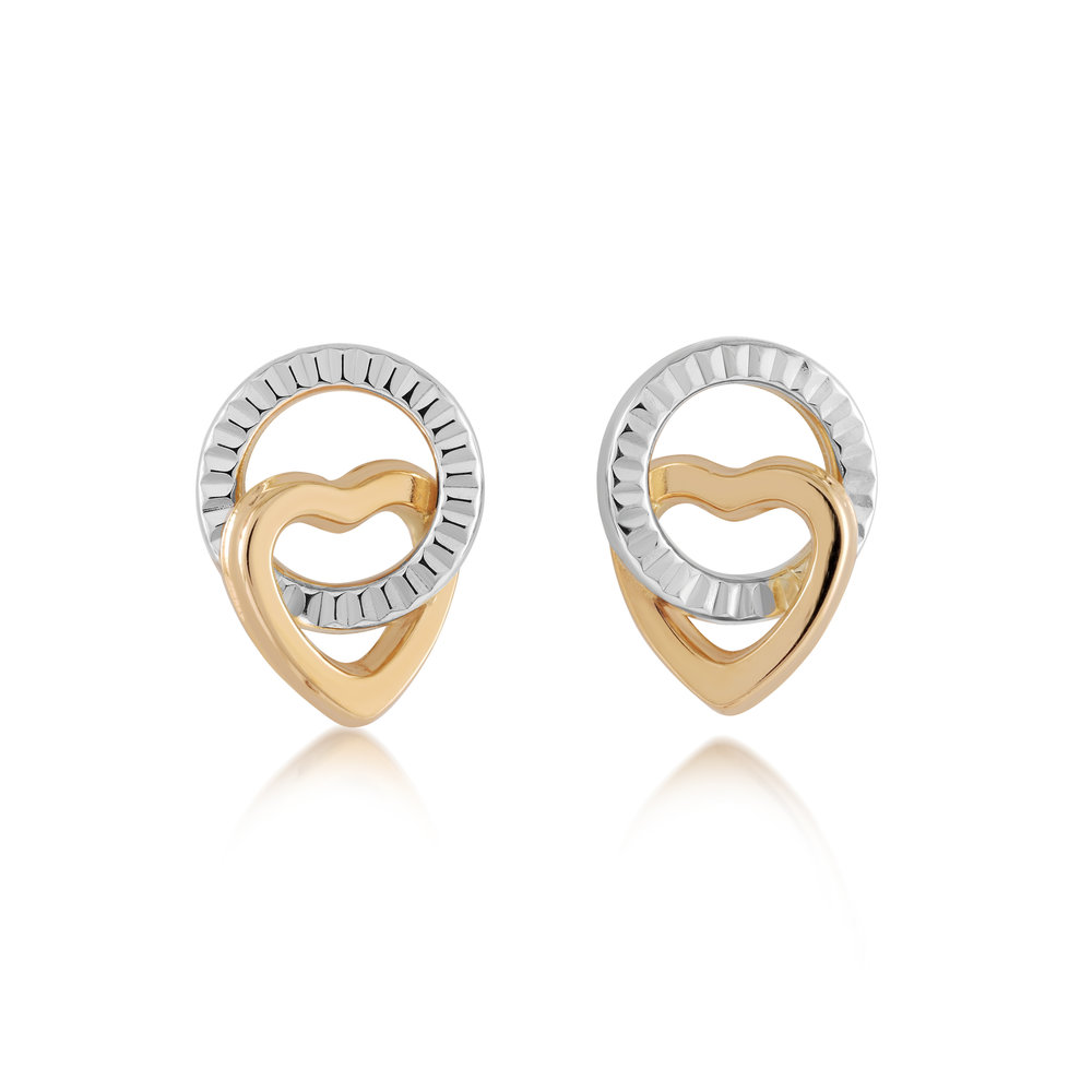 Circle and  Heart stud earrings for children 2 Tone - 10K yellow Gold