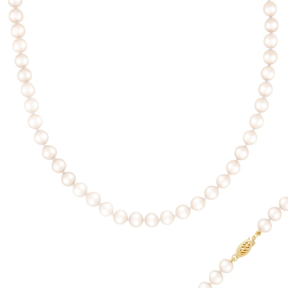Collier de Perles 6-7MM et de 18 pouces - fermoir en or 14K