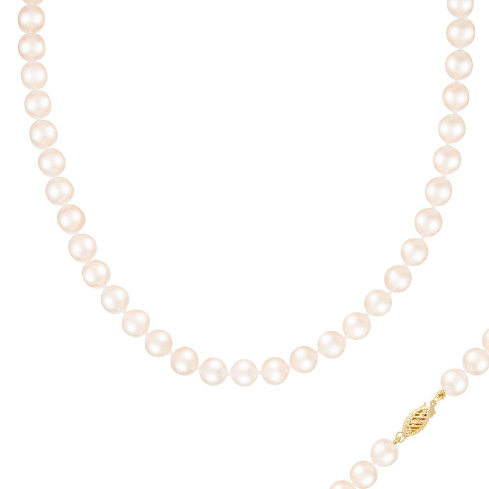 Collier de Perles 8-9MM et de 18 pouces - fermoir en or 14K