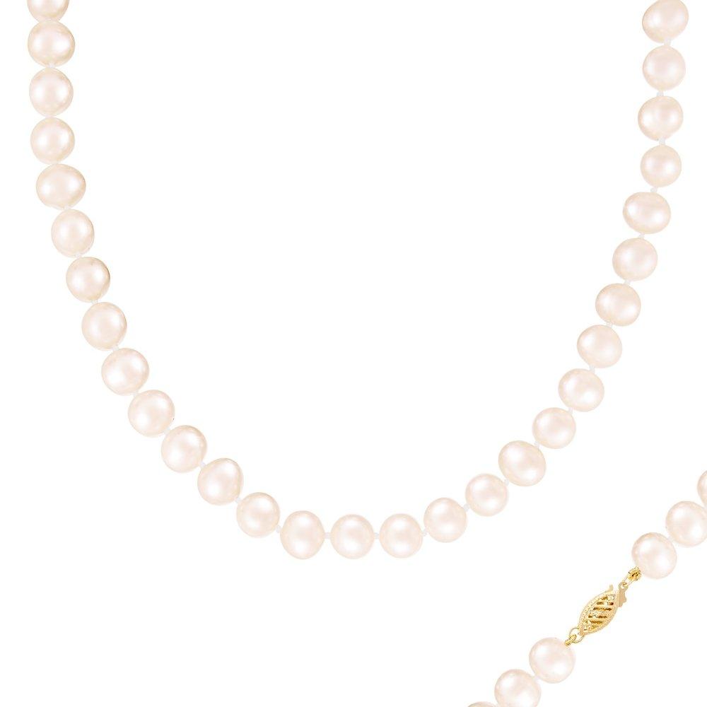 Collier de Perles 9-10MM et de 18 pouces - fermoir en or 14K