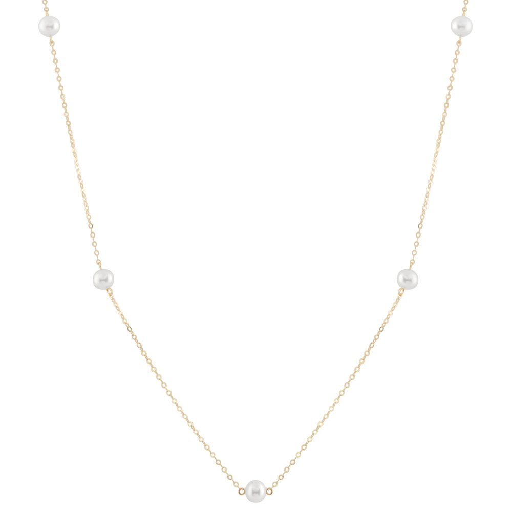 Pearl necklace for women - 10K yellow gold