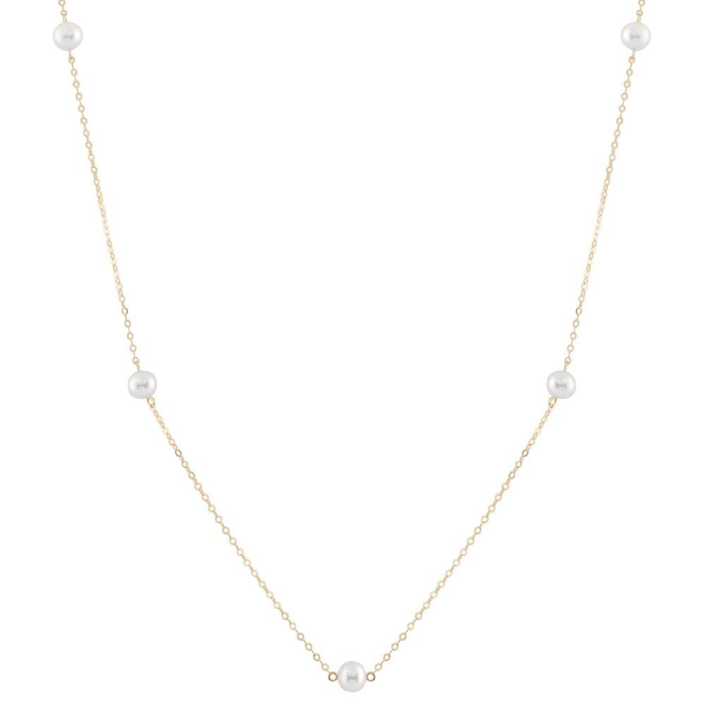 Collier de perles pour femme en or jaune 10K