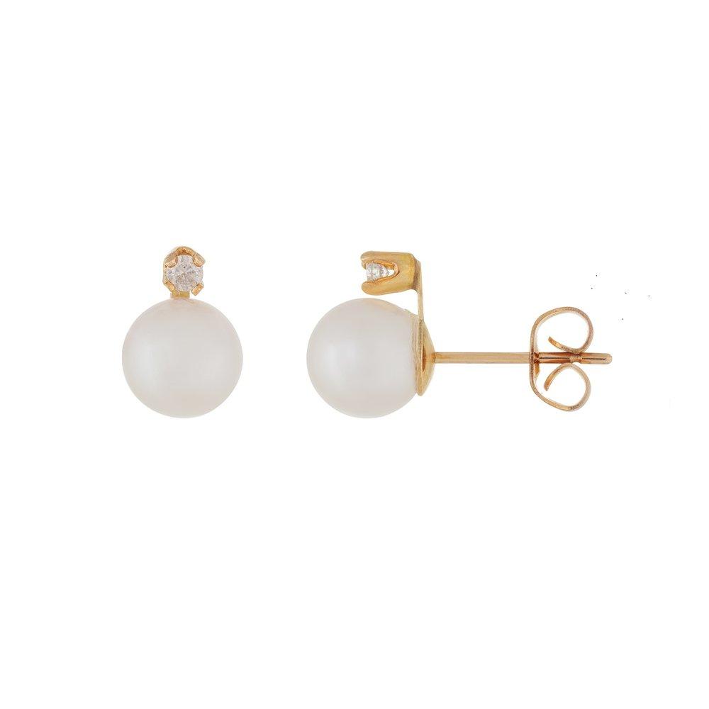 Boucles d'oreilles or jaune 14K, perle et diamants