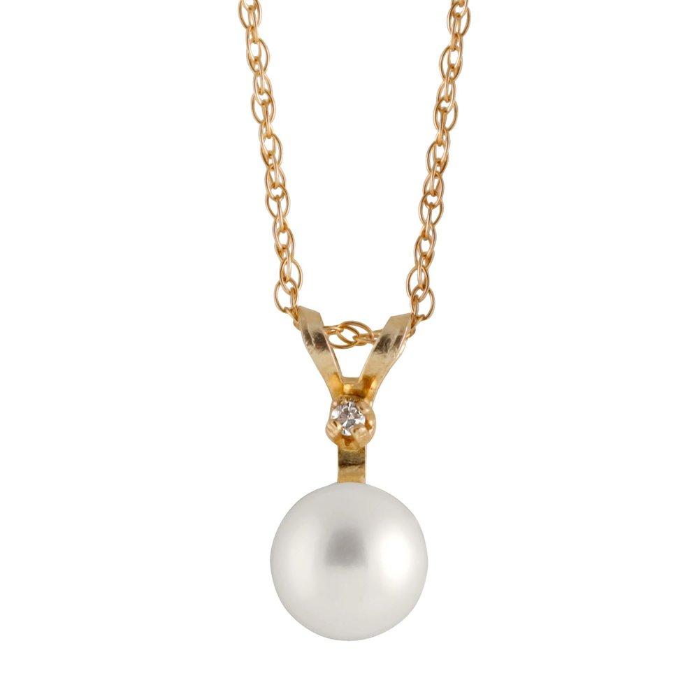 Pearl & Diamond Pendant T.W. 1pts & 14K yellow gold