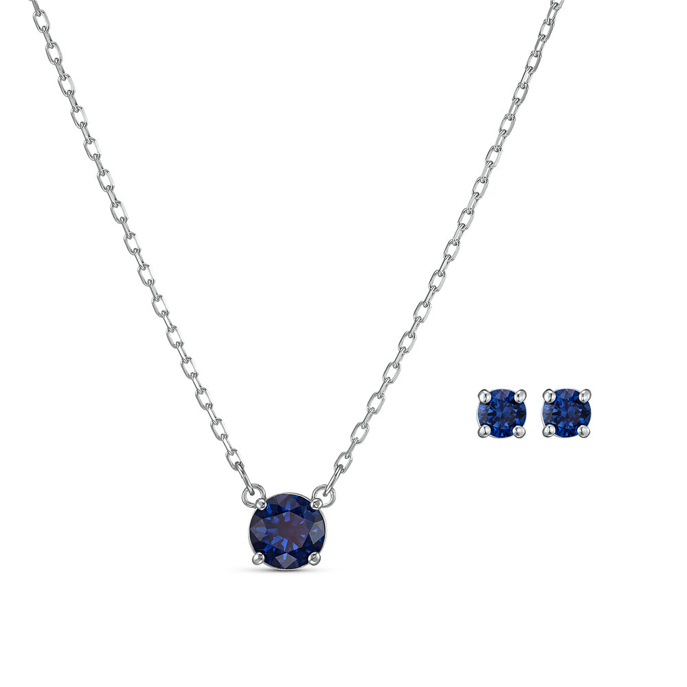 Attract round set, blue, rhodium-plated metal