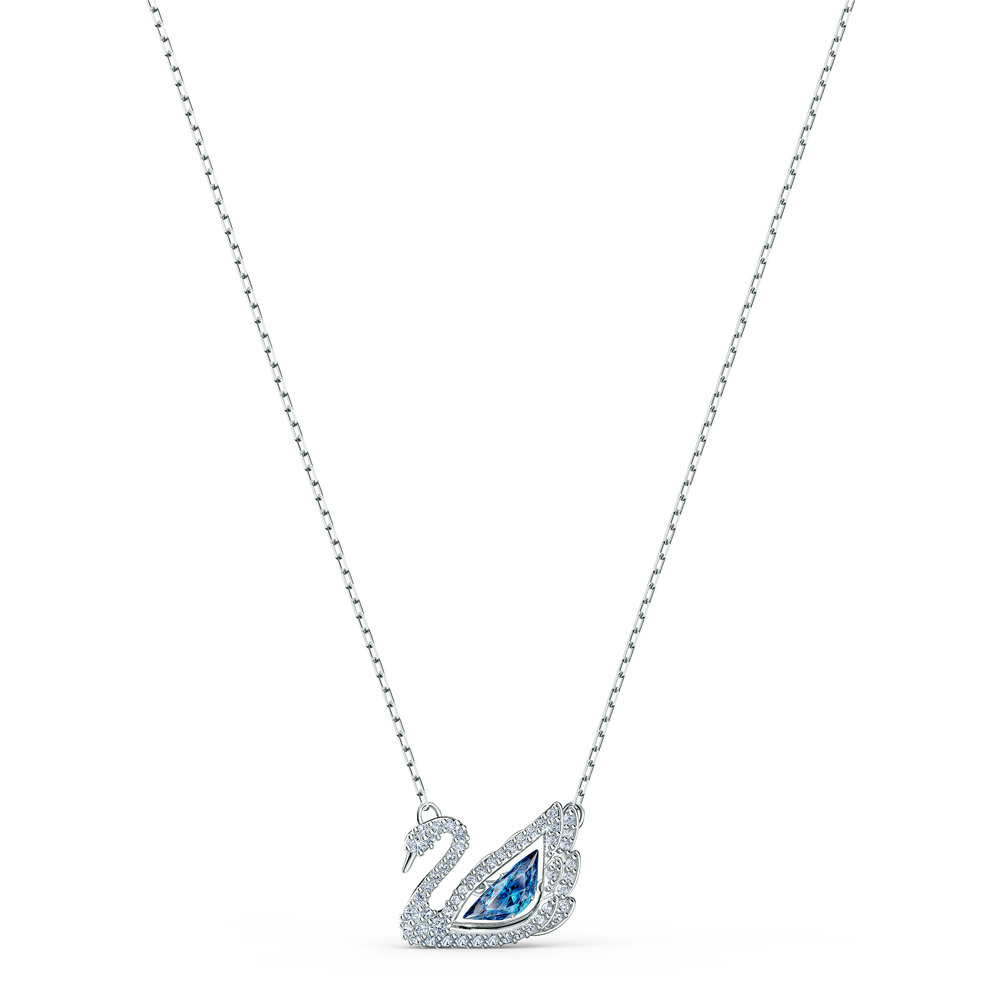 Dancing swan necklace, blue, rhodium-plated metal