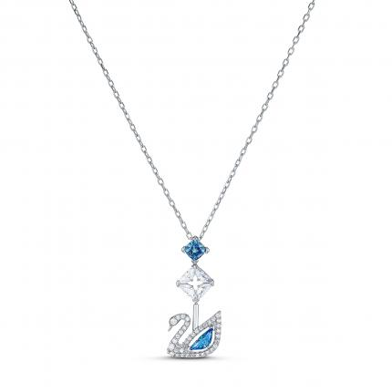 Dazzling swan necklace, blue, rhodium plating