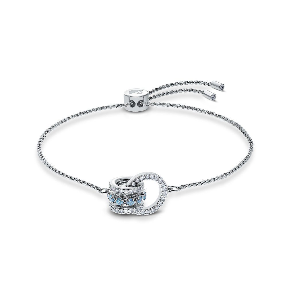 Further bracelet, blue, rhodium plated