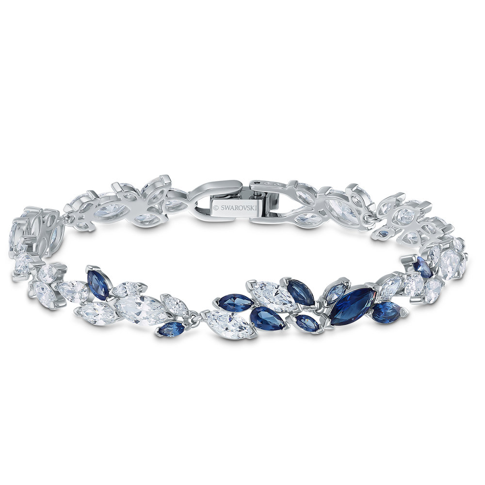 Louison bracelet, blue, rhodium plated