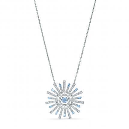 Sunshine necklace, blue, rhodium plating