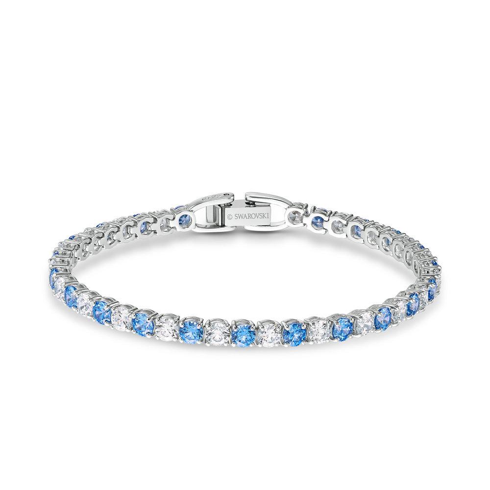 Tennis deluxe bracelet, light blue, rhodium plated