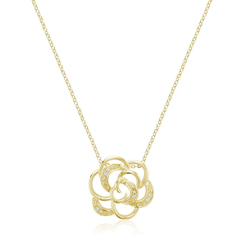 Pendentif fleur pour femme - Or jaune 10K & Diamants totalisant 3pts.