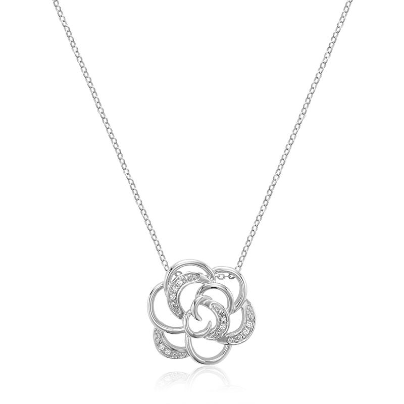 Flower pendant for woman - 10K white gold & Diamonds 3pts - 18