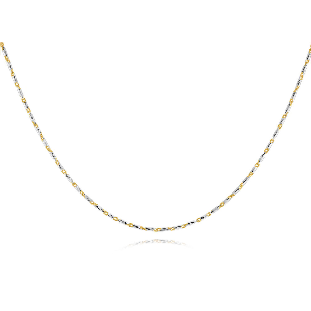 chain 10 inches in Sterling Silver .925- 2 tone yellow and white
