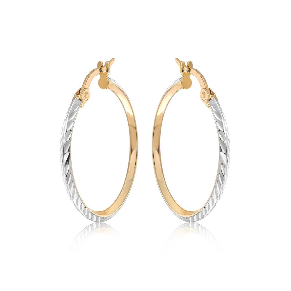 Boucles d'oreilles anneaux pour femme - Or 2-tons 10K