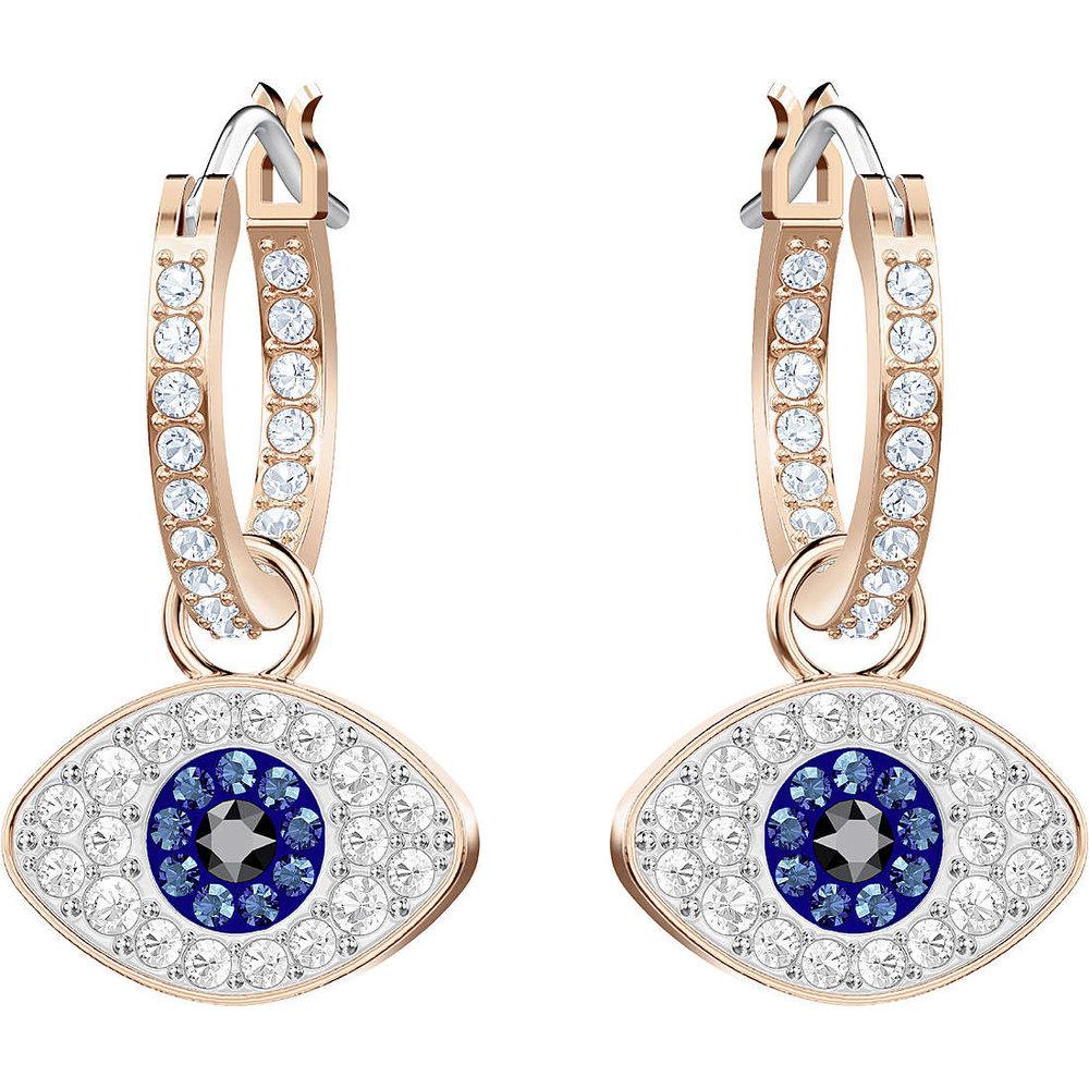 Swarovski symbolic evil eye hoop pierced earrings, multi-colored, rose-gold tone plated