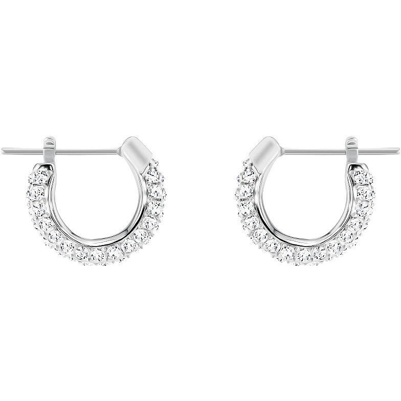 Stone pierced earrings, white, rhodium plated
