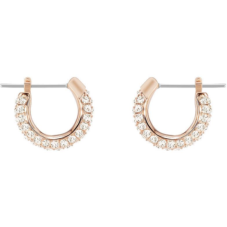 Boucles d'oreilles stone, rose, métal doré rose