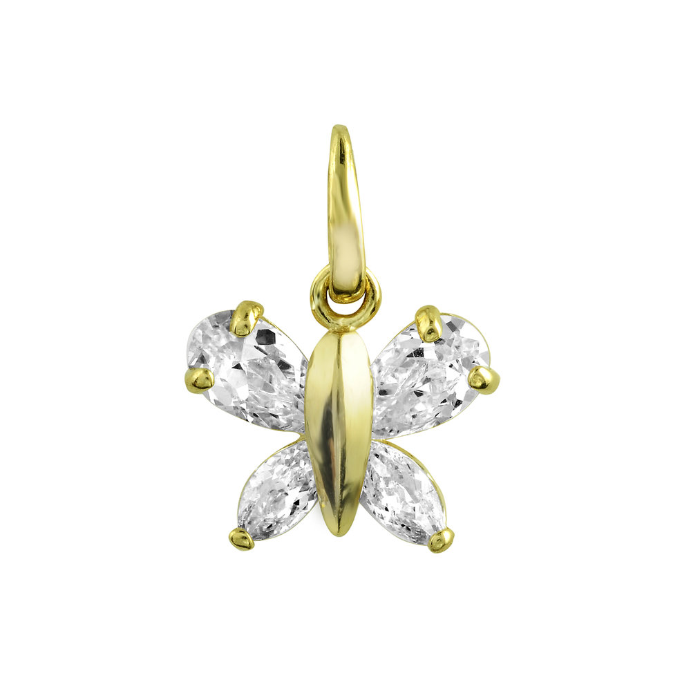 Breloque Papillon  -  Or jaune 14K & Zirconiums cubiques