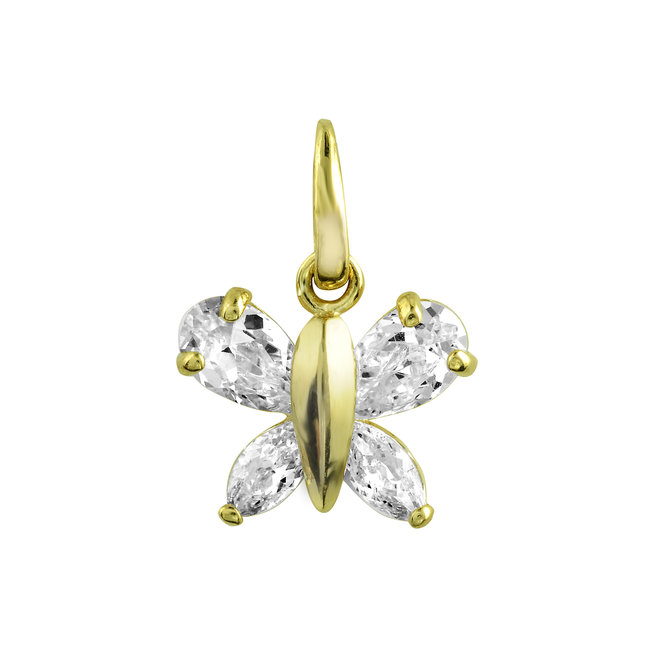 Pendant butterfly - 14K yellow Gold & Cubic zirconnium