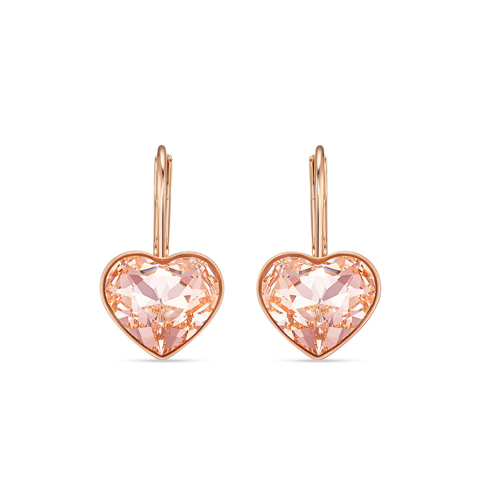 Bella heart pierced earrings, pink, rose-gold tone plated
