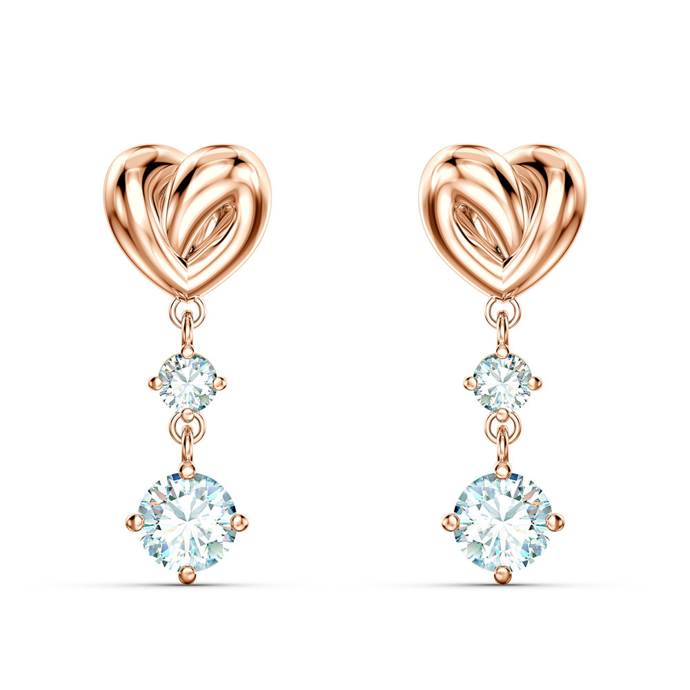 Boucles d'oreilles lifelong heart, blanc, métal doré rose
