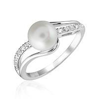 Bague pour femme - Or blanc 10K & Diamants totalisant 0.07 Carat avec perle
