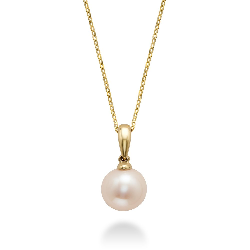 Pendant for woman - 10K yellow gold with cultured pearl