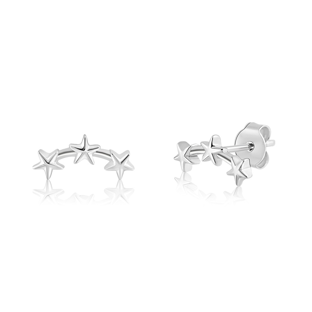 Stud earrings with multi-stars climing in sterling silver .925
