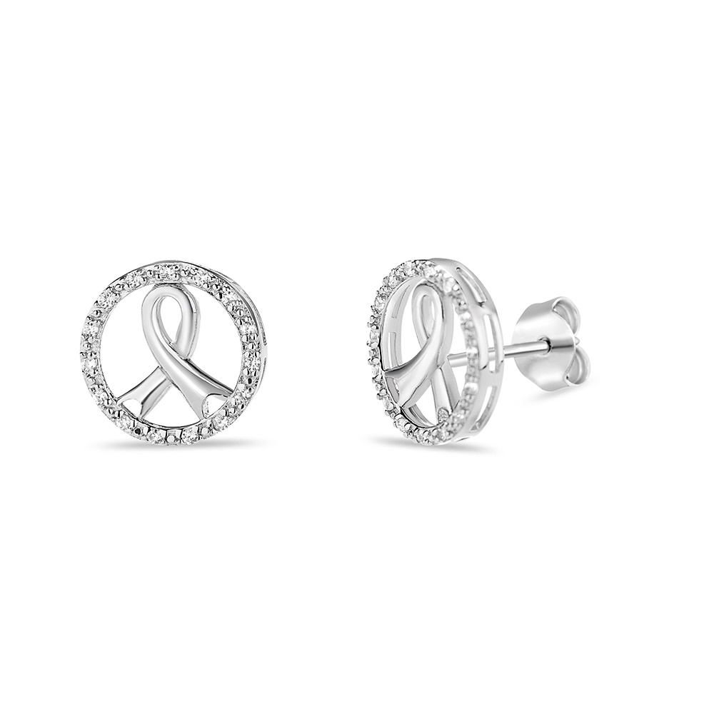 Cancer Symbol Stud circle earrings rhodium plated in sterling silver .925 with cubic zirconia