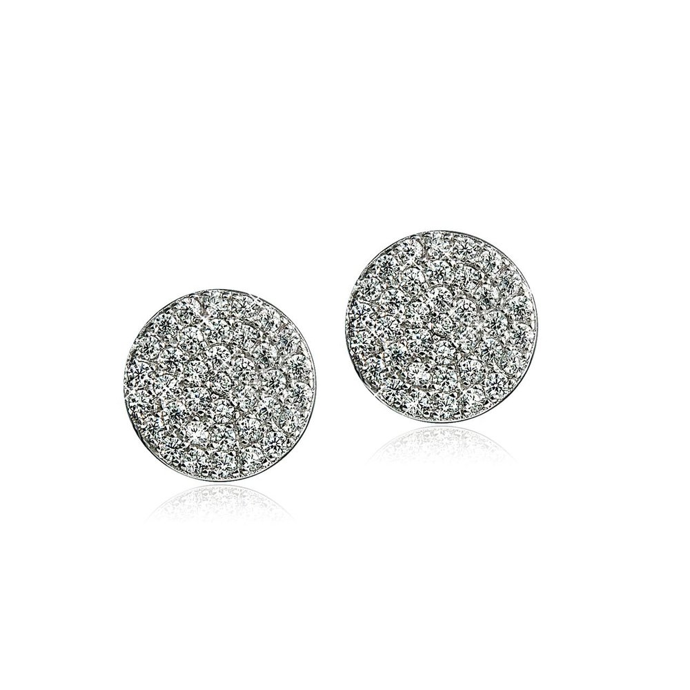 Stud earrings small cubic zirconia disk in sterling silver .925