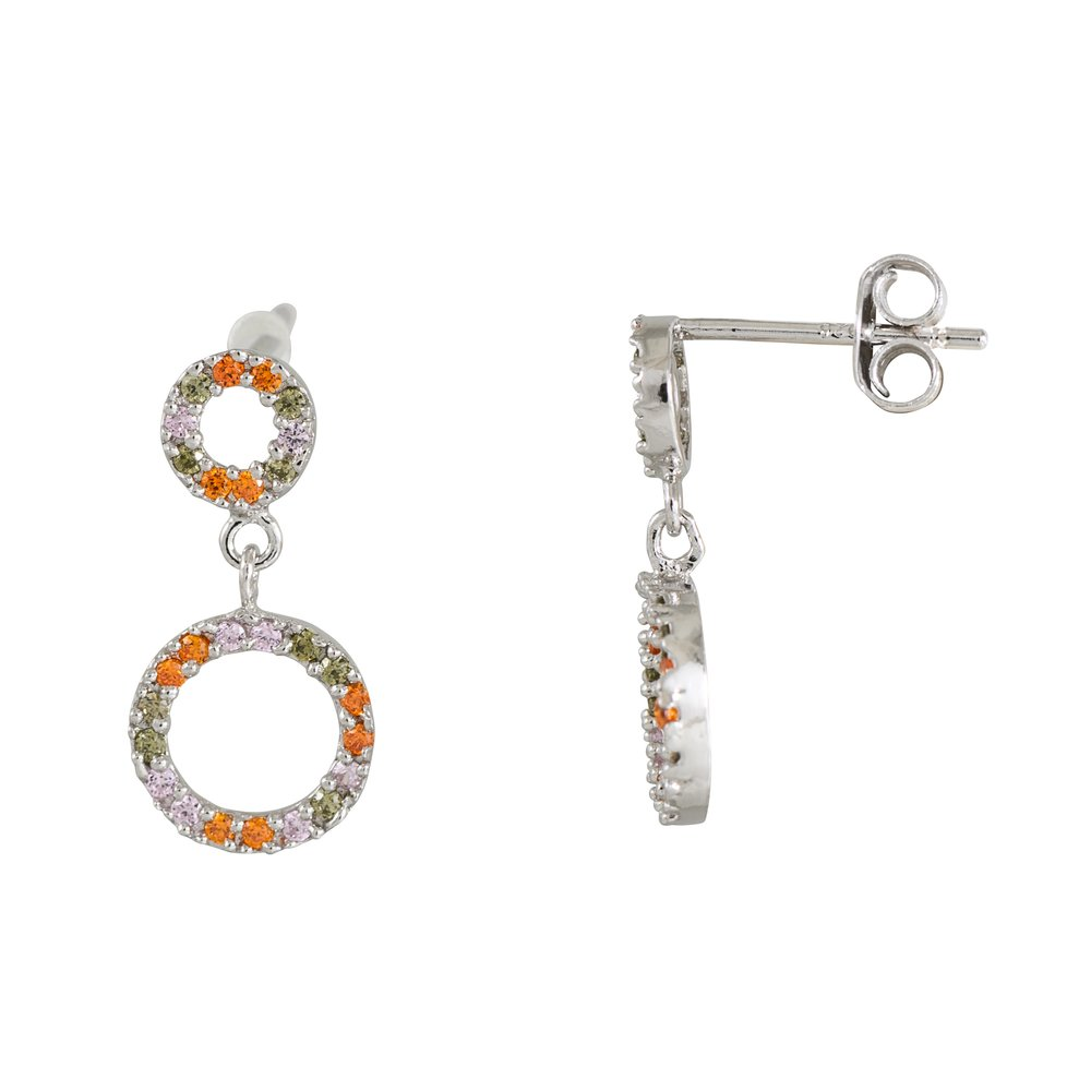Circles hanging earrings in sterling silver .925 with small multi colors cubic zirconia