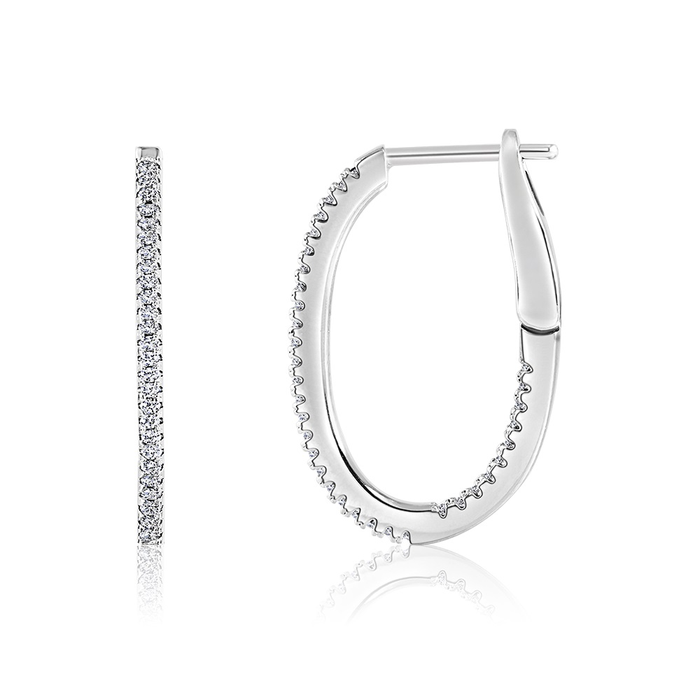 Oval earrings (20 mm) in .925 sterling silver with cubic zirconia