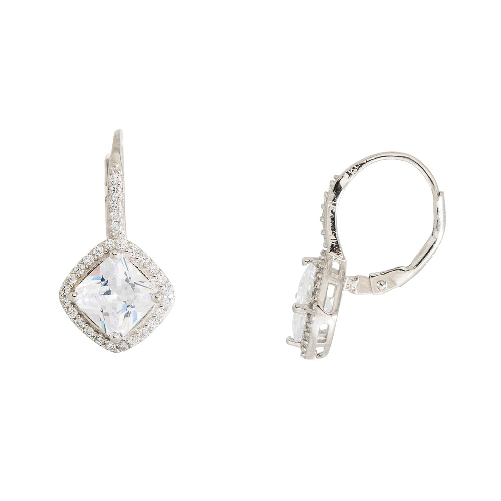 Princess-cut dangling earrings in silver sterling .925 and cubic zirconia