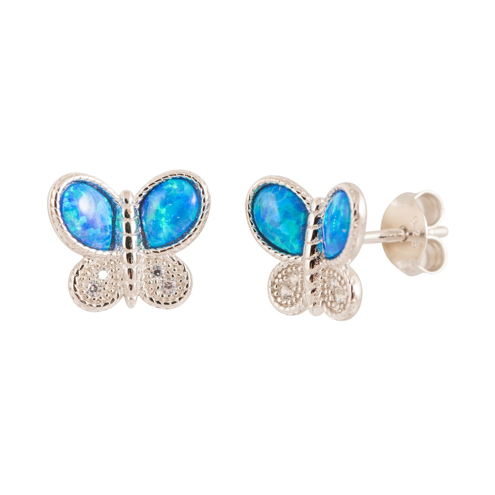 Blue opal butterfly earrings in  sterling silver .925 and cubic zirconia