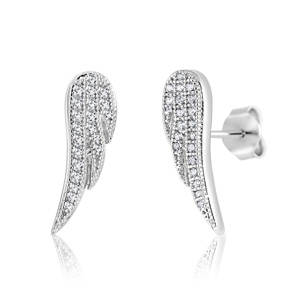 Angel wings stud earrings in sterling silver .925 and cubic zirconia