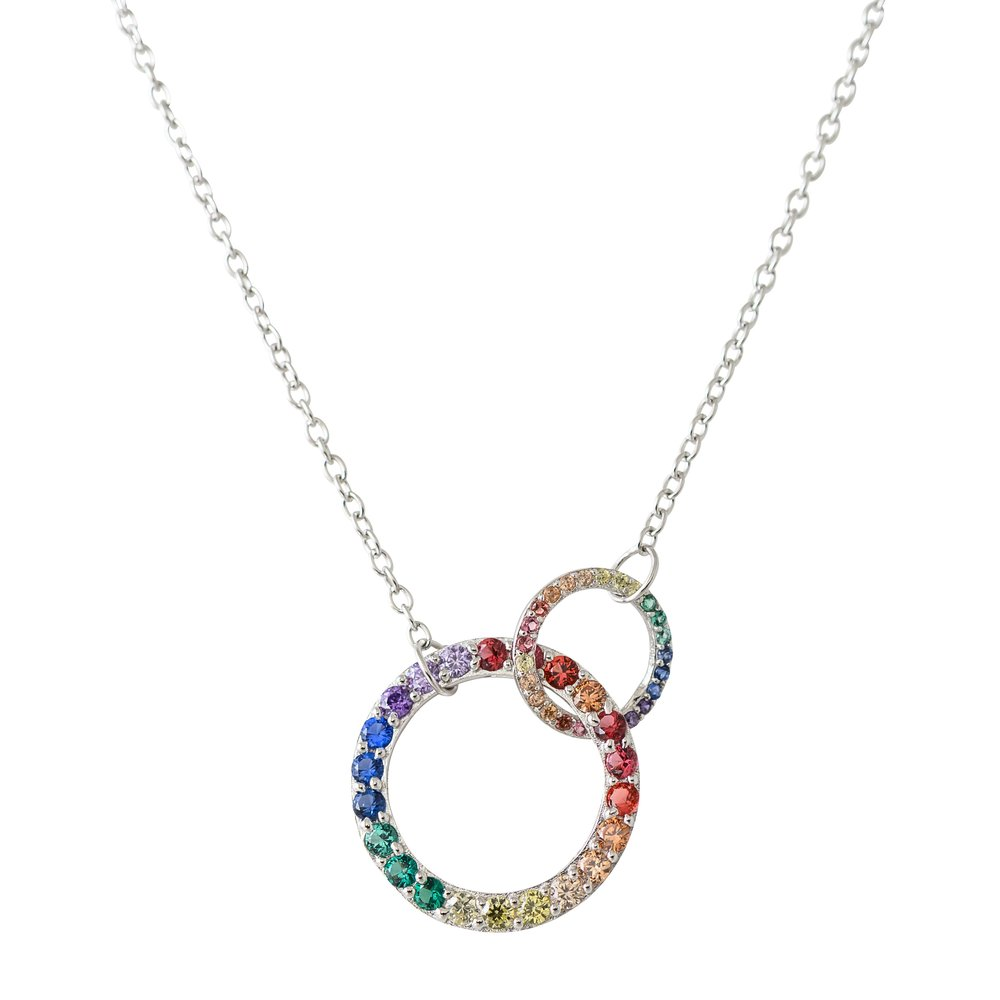 Open interlocking circles necklace  in argent sterling .925 and multi-colors cubic zirconia