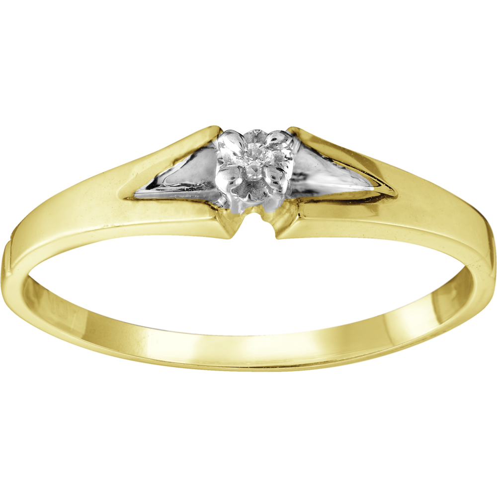 Ladies ring with diamond 0.02 Carat T.W. - in 10K yellow Gold
