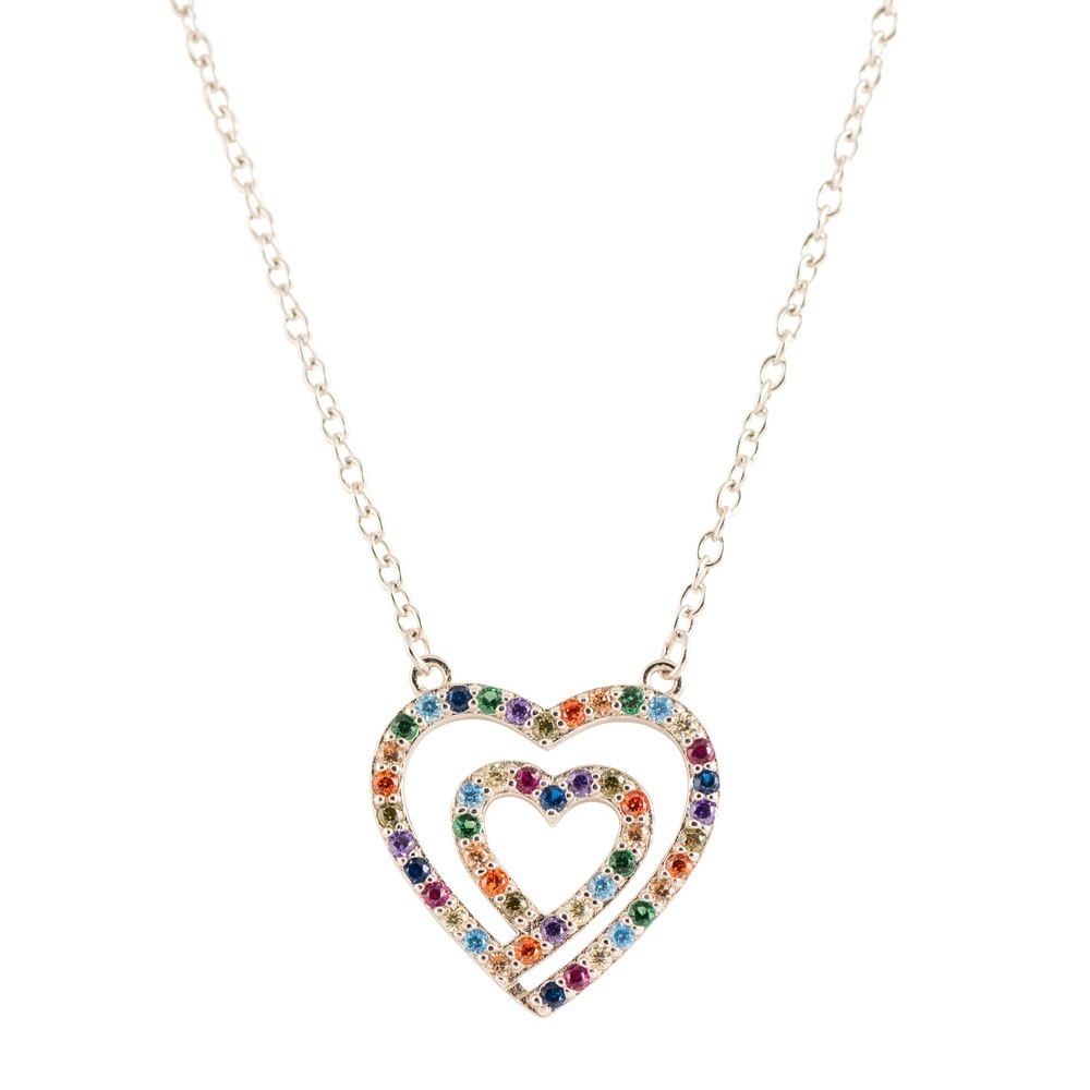 Double hearts pendant in .925 sterling silver and multicolored cubic zirconia