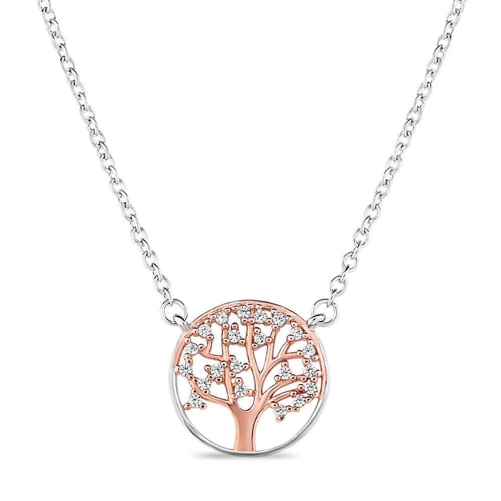 Pink tree of life necklace in .925 sterling silver and cubic zirconia